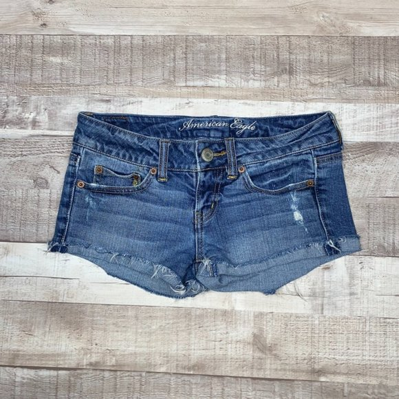 American Eagle Casual Flat Front Jean Shorts 0